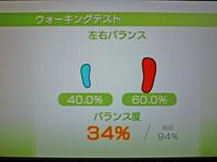 Wii Fit Plus 2011年3月16日のバランス年齢 40歳 ウォーキングテスト結果 バランス度34%