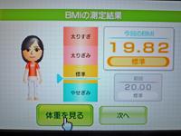 Wii Fit Plus 2011年3月22日のBMI 19.82