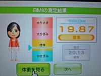 Wii Fit Plus 2011年3月27日のBMI 19.87