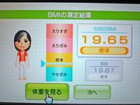 Wii Fit Plus 2011年3月28日のBMI 19.65