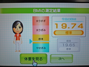 Wii Fit Plus 2011年3月29日のBMI 19.74