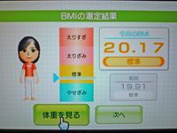 Wii Fit Plus 2011年4月2日のBMI 20.17
