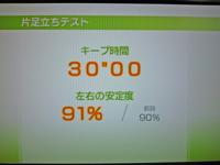 Wii Fit Plus 2011年4月3日のバランス年齢 20歳 片足立ちテスト結果キープ時間30