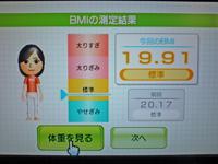 Wii Fit Plus 2011年4月8日のBMI 19.91
