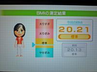 Wii Fit Plus 2011年4月11日のBMI 20.21
