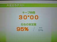 Wii Fit Plus 2011年4月11日のバランス年齢 29歳 片足立ちテスト結果 キープ時間30