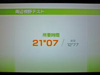 Wii Fit Plus BMIの推移のグラフWii Fit Plus 2011年4月12日のバランス年齢 26歳 周辺視野テスト結果 所要時間21