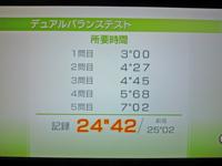 Wii Fit Plus 2011年4月13日のバランス年齢 24歳 デュアルバランステスト結果 所要時間 24
