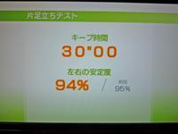 Wii Fit Plus 2011年4月13日のバランス年齢 24歳 片足立ちテスト結果 キープ時間30