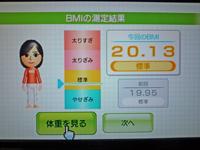 Wii Fit Plus 2011年4月19日のBMI 20.13