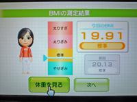 Wii Fit Plus 2011年4月20日のBMI 19.91