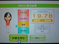Wii Fit Plus 2011年4月21日のBMI 19.78