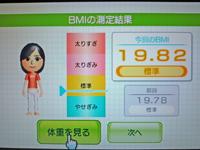 Wii Fit Plus 2011年4月22日のBMI 19.82