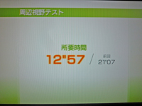 Wii Fit Plus 2011年4月23日のバランス年齢 20歳 周辺視野テスト結果 所要時間12