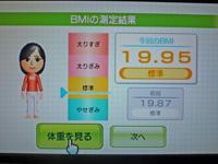 Wii Fit Plus 2011年4月27日のBMI 19.95
