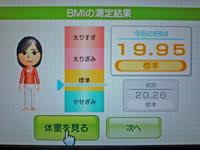 Wii Fit Plus 2011年4月29日のBMI 19.95