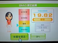 Wii Fit Plus 2011年4月30日のBMI 19.82