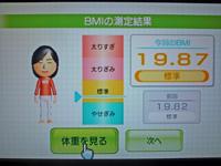 Wii Fit Plus 2011年5月1日のBMI 19.87
