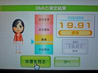 Wii Fit Plus 2011年5月2日のBMI 19.91