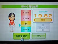 Wii Fit Plus 2011年5月8日のBMI 19.82