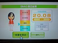 Wii Fit Plus 2011年5月9日のBMI 20.08