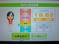 Wii Fit Plus 2011年5月13日のBMI 19.82