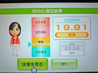 Wii Fit Plus 2011年5月15日のBMI 19.91
