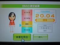 Wii Fit Plus 2011年5月16日のBMI 20.04