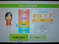 Wii Fit Plus 2011年5月18日のBMI 20.17