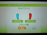 Wii Fit Plus 2011年5月19日のバランス年齢 20歳 ウォーキングテスト結果 バランス度81%