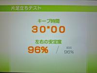 Wii Fit Plus 2011年5月20日のバランス年齢 20歳 片足立ちテスト キープ時間30