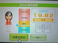 Wii Fit Plus 2011年5月21日のBMI 19.82