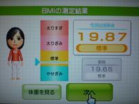 Wii Fit Plus 2011年5月25日のBMI 19.87