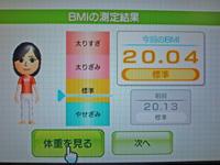 Wii Fit Plus 2011年5月28日のBMI 20.04