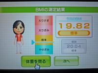 Wii Fit Plus 2011年5月29日のBMI 19.82