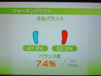 Wii Fit Plus 2011年5月30日のバランス年齢 23歳 ウォーキングテスト結果 バランス度74%