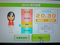 Wii Fit Plus 2011年5月31日のBMI 20.30