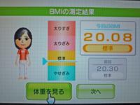 Wii Fit Plus 2011年6月1日のBMI 20.08