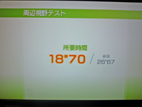 Wii Fit Plus 2011年6月2日のバランス年齢 25歳 周辺視野テスト結果 所要時間 18