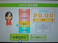 Wii Fit Plus 2011年6月8日のBMI 20.00
