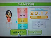 Wii Fit Plus 2011年6月10日のBMI 20.17