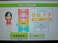 Wii Fit Plus 2011年6月21日のBMI 20.17