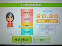 Wii Fit Plus 2011年6月22日のBMI 20.30