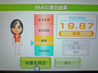 Wii Fit Plus 2011年6月27日のBMI 19.87