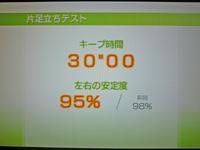 Wii Fit Plus 2011年7月4日のバランス年齢 20歳 片足立ちテスト キープ時間30