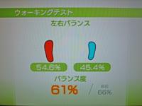 Wii Fit Plus 2011年7月5日のバランス年齢 32歳 ウォーキングテスト結果 バランス度61%