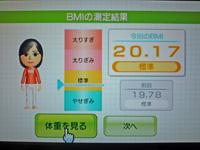 Wii Fit Plus 2011年7月7日のBMI 20.17