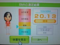 Wii Fit Plus 2011年7月11日のBMI 20.13