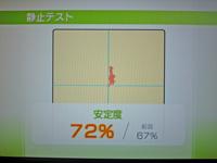 Wii Fit Plus 2011年7月12日のバランス年齢 25歳 静止テスト結果 安定度72%