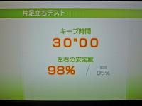 Wii Fit Plus 2011年7月19日のバランス年齢 20歳 片足立ちテスト結果 キープ時間 30